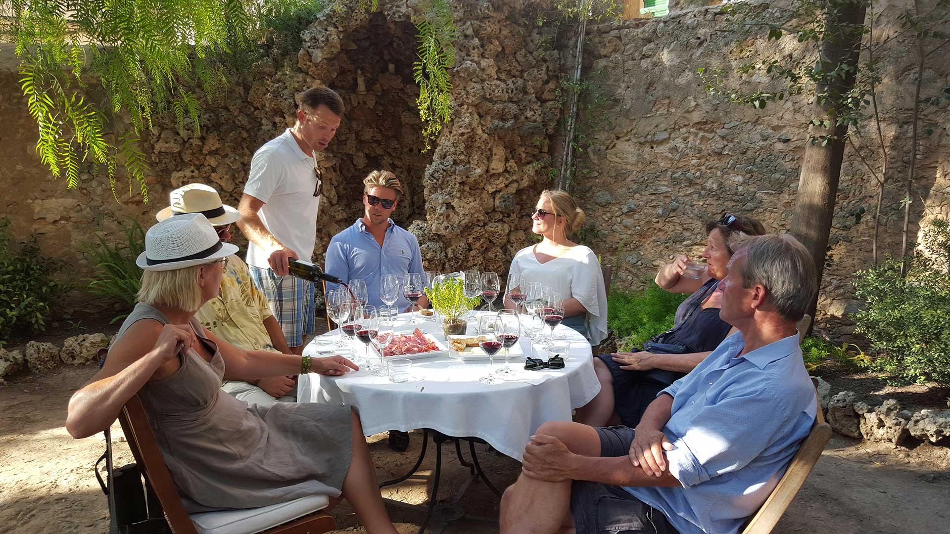 having fun drinking wine with mallorca wine tours